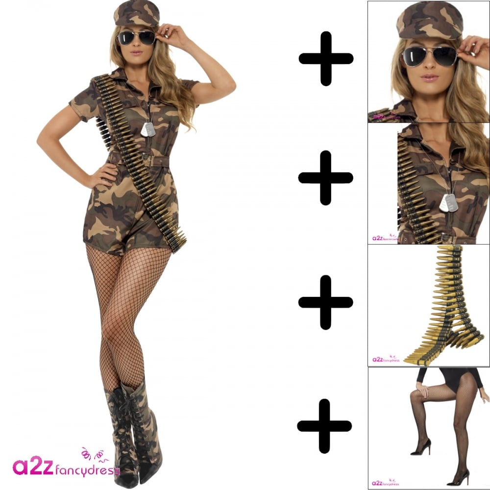 Sexy Army Girl - Adult Costume Set (Costume Specs Bullet Belt Dogtags  sc 1 st  a2z Fancy Dress & Army Girl Sexy - Adult Costume Set (Costume Specs Bullet Belt ...