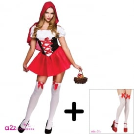 ~ Sexy Little Red Riding Hood - Adult Costume Set (Costume, Stockings With Bows)