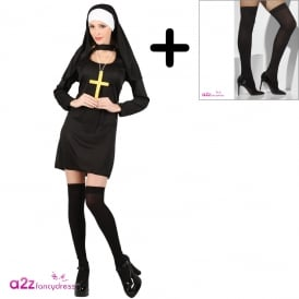 Sexy Nun - Adult Costume Set (Costume, Stockings)