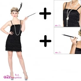 Showtime Flapper (Black) - Adult Costume Set (Costume, Necklace, Cig Holder)