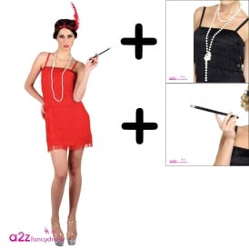 Showtime Flapper Girl (Red) - Adult Costume Set (Costume, Necklace and Cig Holder)