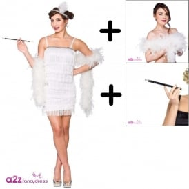 Showtime Flapper (White) - Adult Costume Set (Costume, White Boa, Cig Holder)
