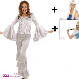 Silver Dancing Queen - Adult Costume Set (Costume, Blonde Wig, Mic)