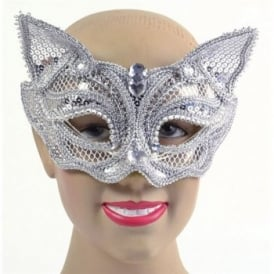 Silver Sequin Cat Mask - Accessory