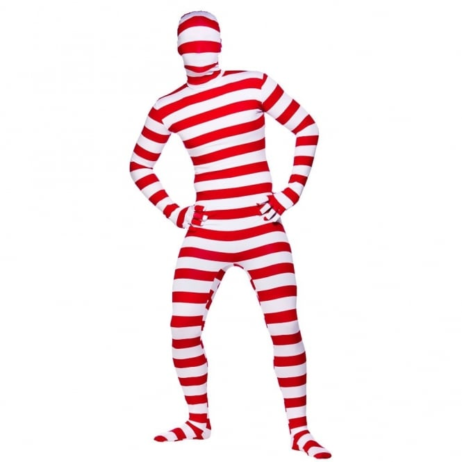 Skinz Red & White Striped - Adult Costume