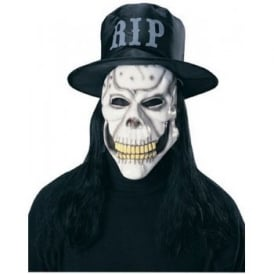 Skull Mask With Hat & Hair - Adult Accessory