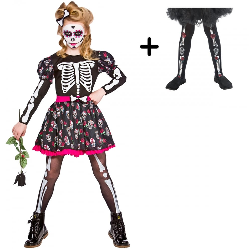 a31a7d8059f Skull Of the Dead - Kids Costume Set 1 (Costume, Day Of The Dead Tights)