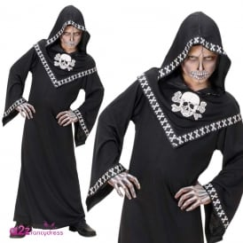 Skullzar Hooded Skull Robe - Kids Costume