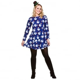 Snowman Christmas Dress (Blue) - Adult Costume