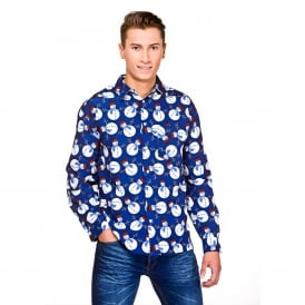 Snowman Christmas Shirt (Blue) - Adult Accessory