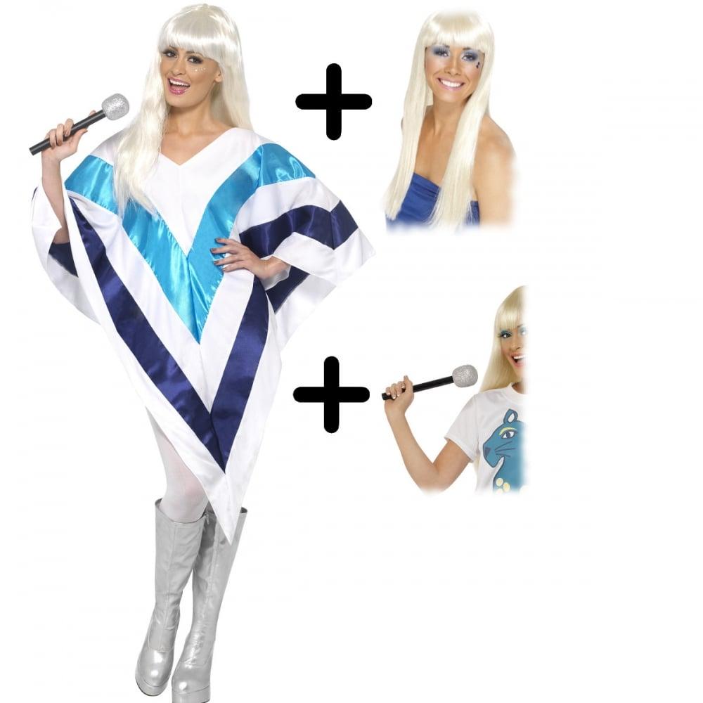542704b9fe5 Super Trooper Cape/Poncho - Adult Costume Set (Poncho, Wig, Microphone)