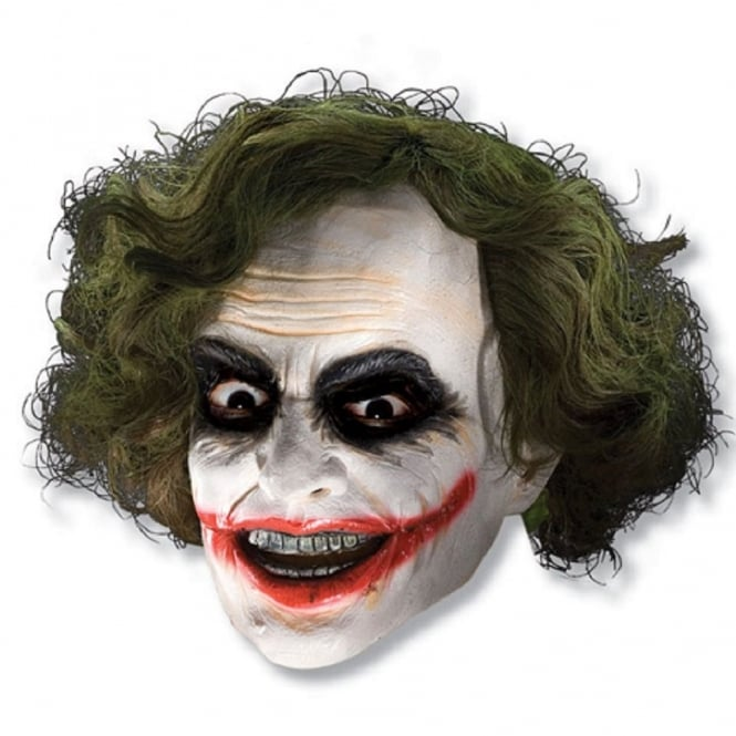 BATMAN ~ The Joker 3/4 Vinyl Mask With Hair - Adult Accessory