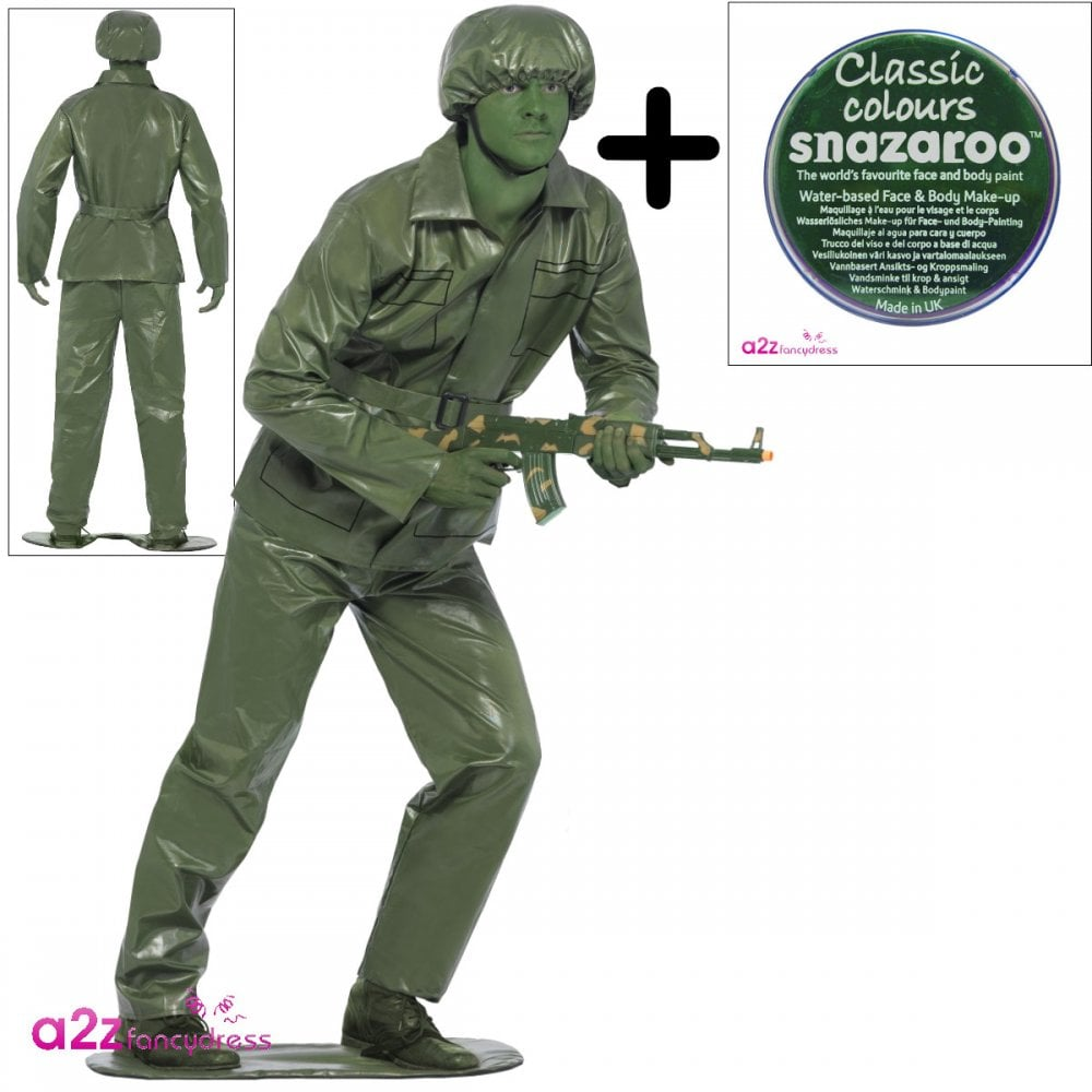 Toy Soldier Adult Costume Set (Costume, Green Facepaint)