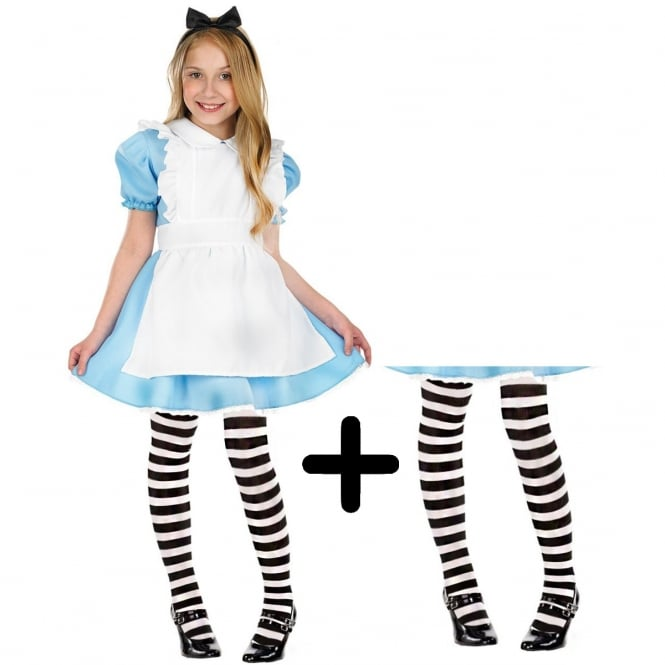 Traditional Alice - Kids Costume Set (Costume, Black & White Tights)