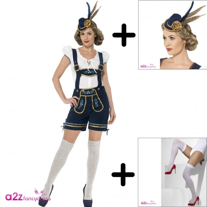 Traditional Deluxe Bavarian - Adult Ladies Costume Set (Costume, Hat, Pull Ups)