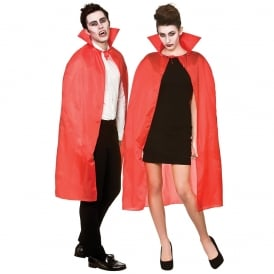 Unisex Red Cape With Collar - Adult Accessory