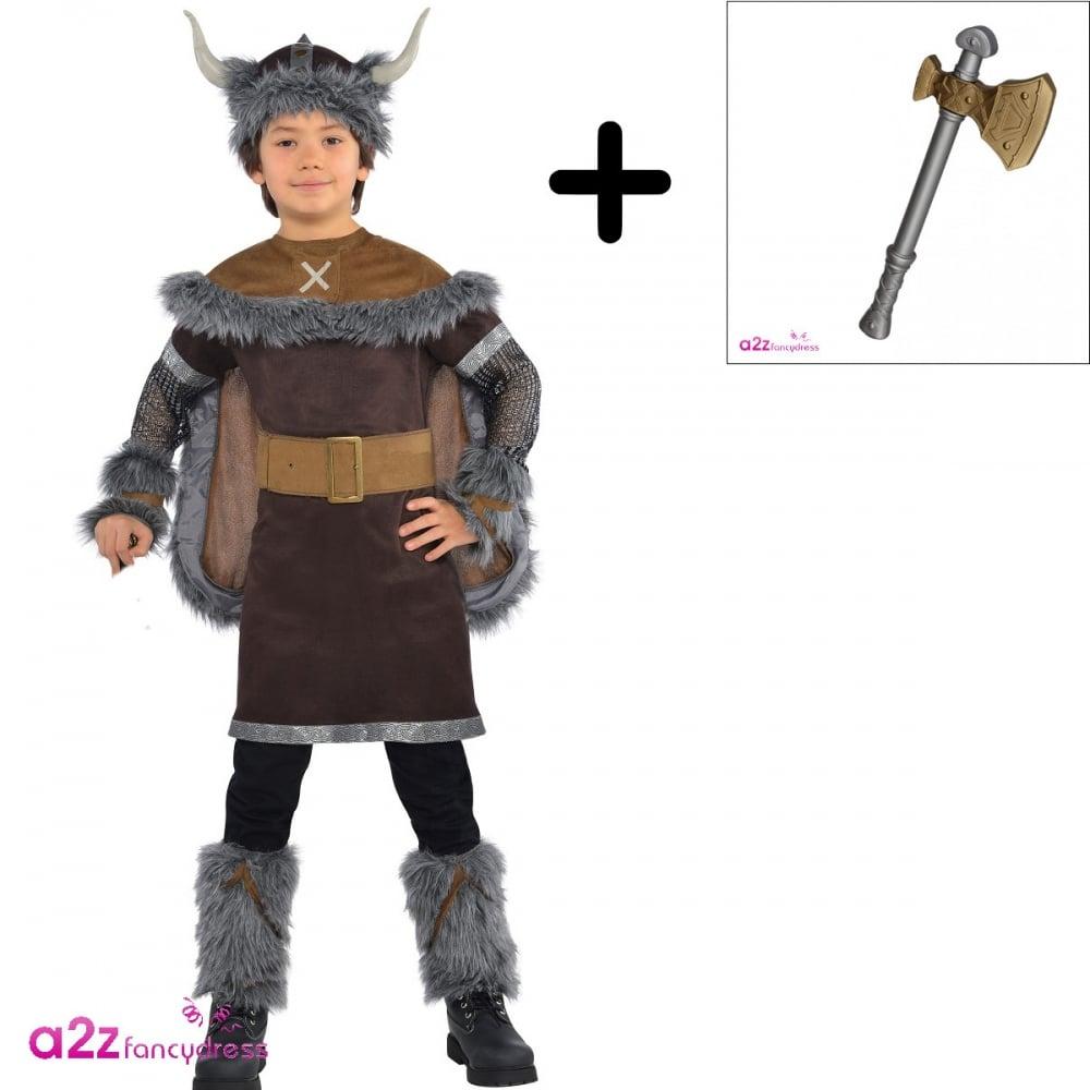 Viking Warrior , Kids Costume Set (Costume, Large Viking Axe)