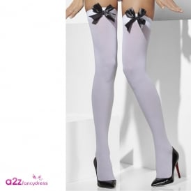 White Opaque Hold Ups With Black Bows - Adult Accessory