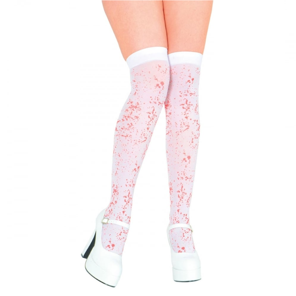 53c860d587625 White Thigh High Stockings With Blood Spatter - Adult Accessory -  Accessories from A2Z Fancy Dress UK