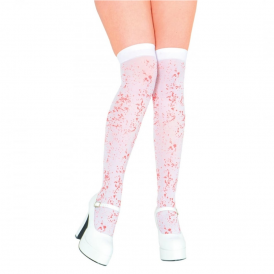 White Thigh High Stockings With Blood Spatter - Adult Accessory