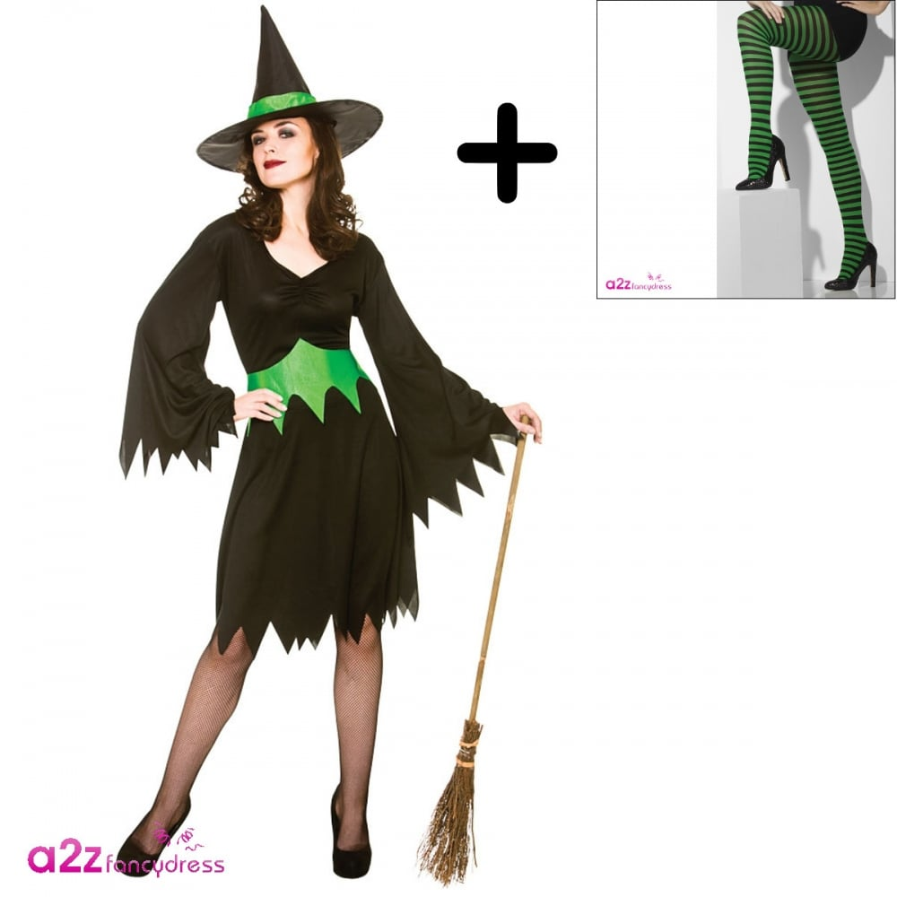 f4d3893a6b739 Wicked Witch - Adult Costume Set 3 (Costume, Green & Black Striped Tights)  - Adult Costumes from A2Z Fancy Dress UK