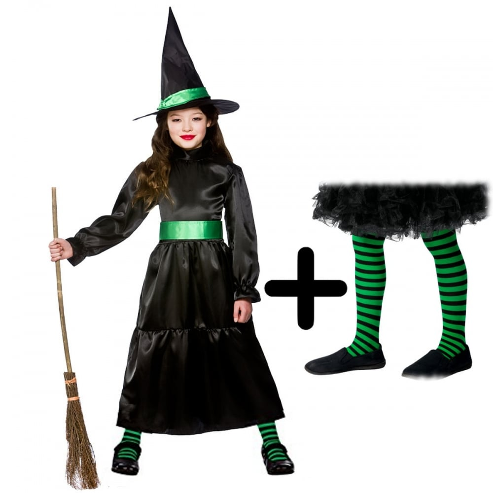 d87dc14bc370f Wicked Witch - Kids Costume Set 3 (Costume, Green & Black Tights) - Costume  Sets from A2Z Fancy Dress UK