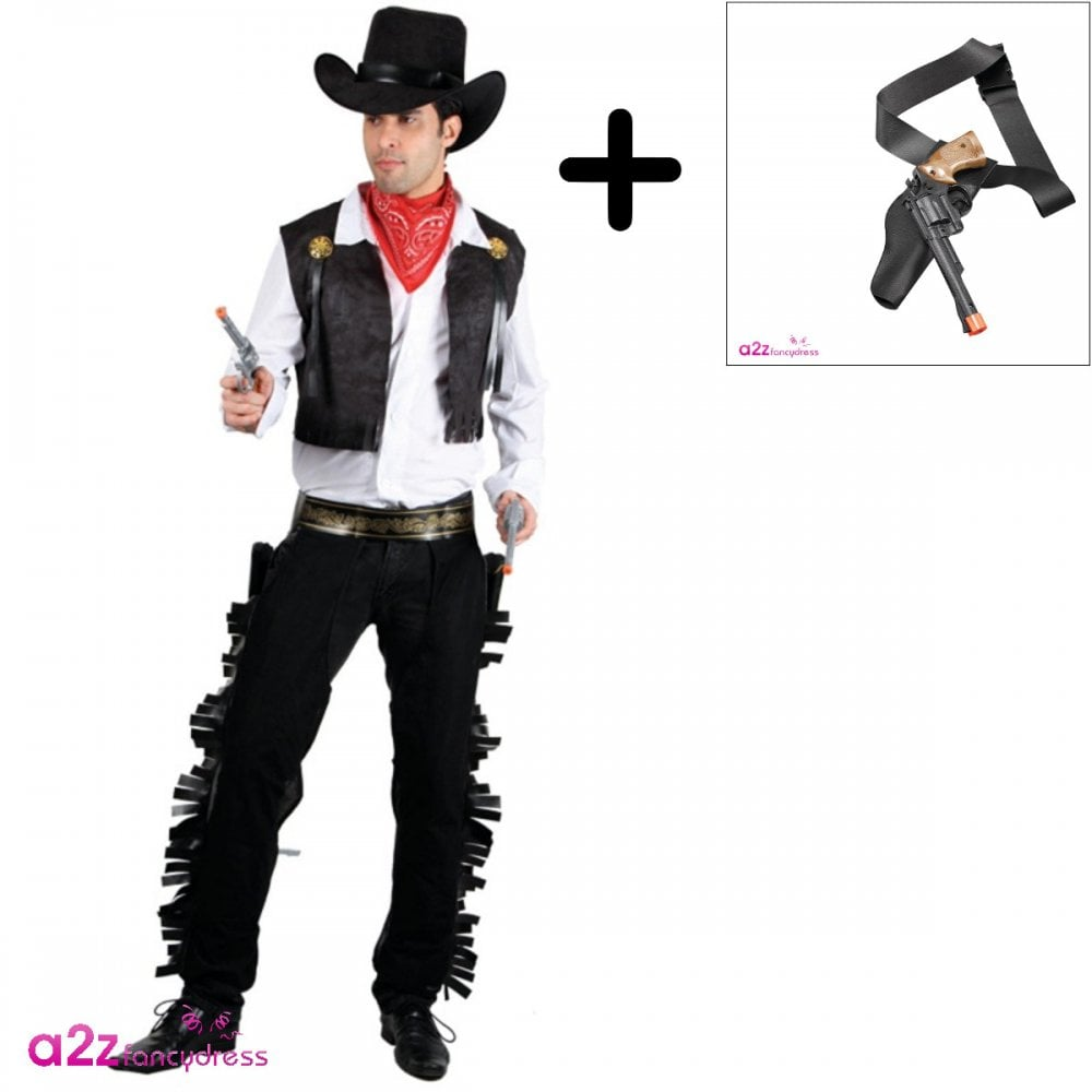 Mens Cowboy Costume Wild West Western Gun Fighter Adult Fancy Dress Outfit