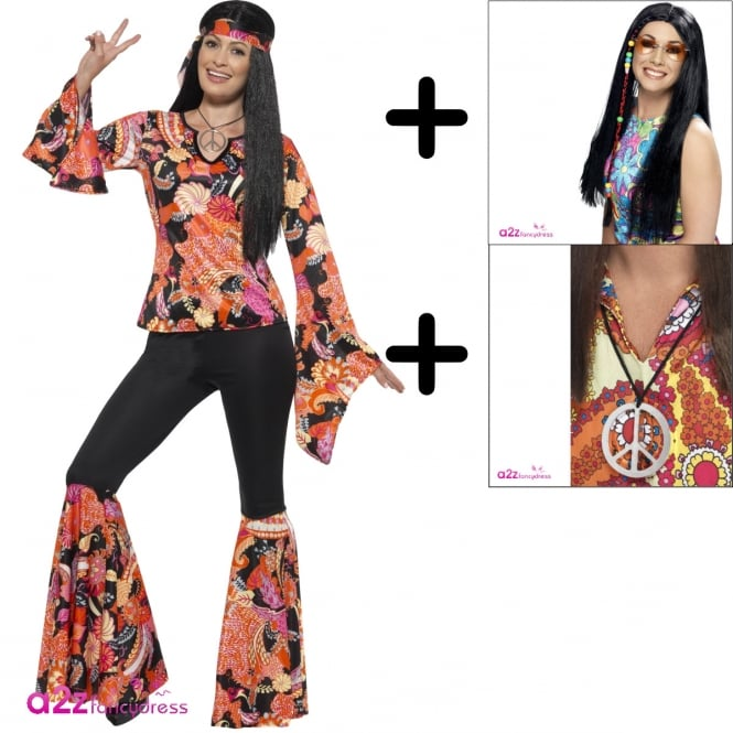 Willow The Hippie - Adult Costume Set (Costume, Wig & Medallion)