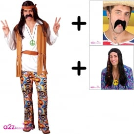 Woodstock Hippie Costume Set - Adult Costume + Wig + Tash
