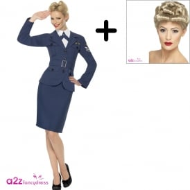 WW2 Air Force Female Captain - Adult Costume Set (Costume, Wig)