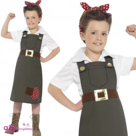 WW2 Hard At Work Munitions Girl - Kids Costume