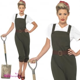 WW2 Land Girl (Green) - Adult Costume