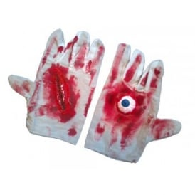 Zombie Gloves With Blood & Eyeball - Adult Accessory