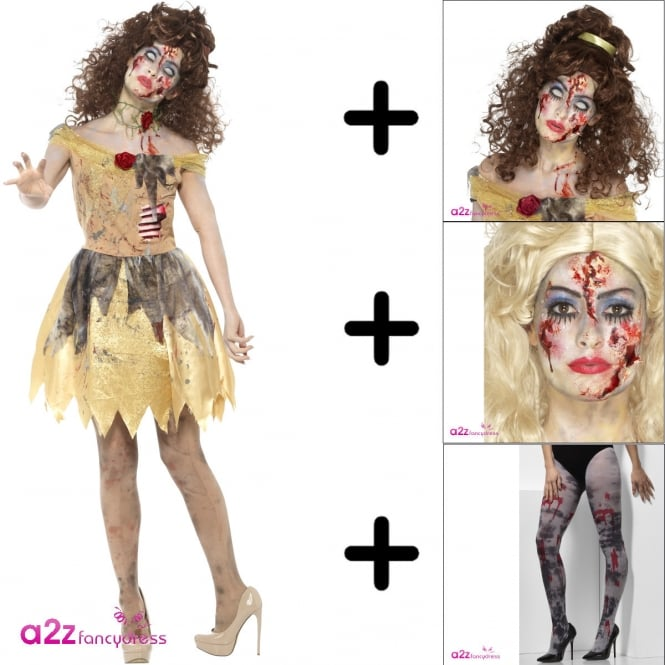 Zombie Golden Fairytale - Adult Costume Set 2 (Costume, Wig, Fairytale Make Up, Tights)