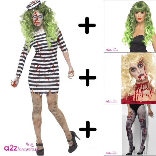 Zombie Jail Bird - Adult Costume Set 2 (Costume, Wig,Tights, Make-Up)