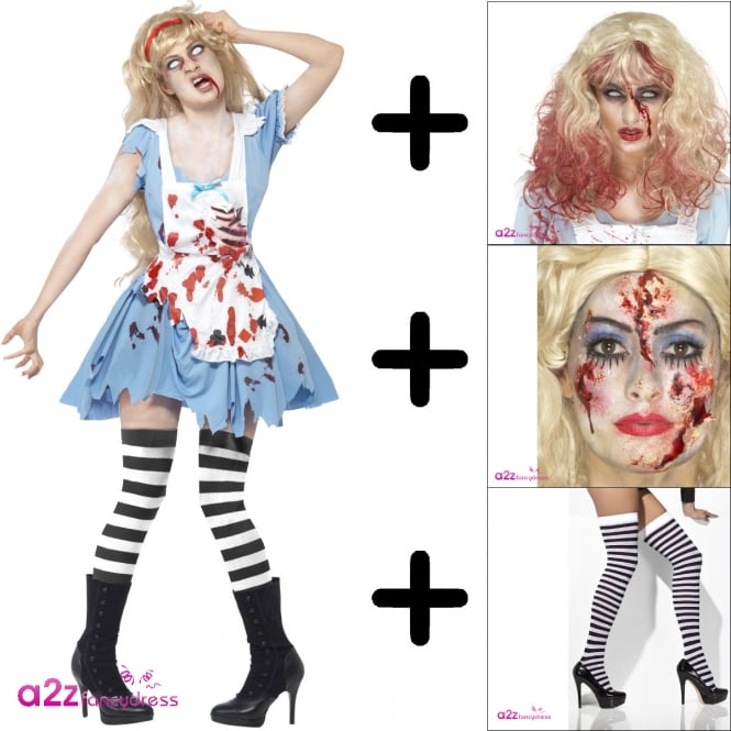 Zombie Malice - Adult Costume Set (Costume, Wig, Make-Up, Pull Ups)
