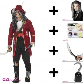 Zombie Pirate Captain - Adult Costume Set (Costume, Wig, Make Up, Cutlass)