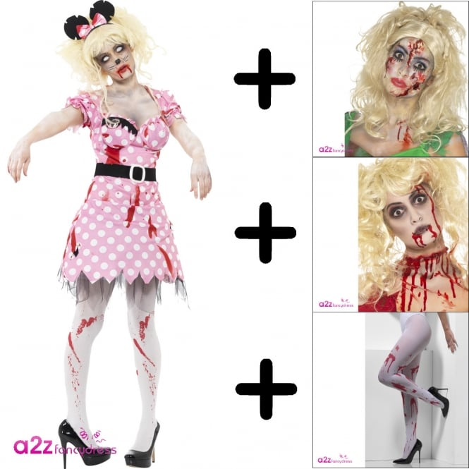 Zombie Rodent - Adult Costume Set (Costume, Wig, Make-Up, Tights)